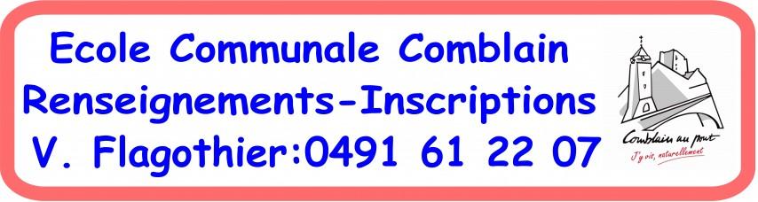 Banderole Comblain inscriptions